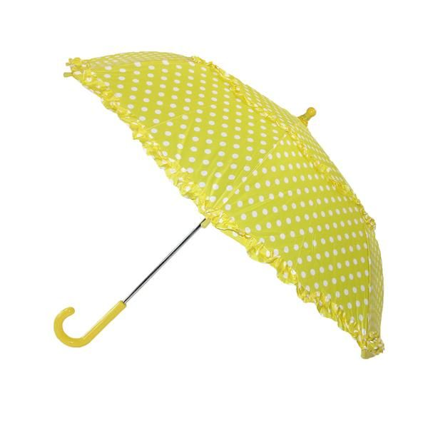 This cute girl's polka dot umbrella features water-proof cover for extra rain protection. Children size umbrella has pinch proof closure and plastic tipped ends for safety. Easy to carry, the hook handle design has been a favorite for centuries. Polka dot print with ruffled trim is a great back to school item.