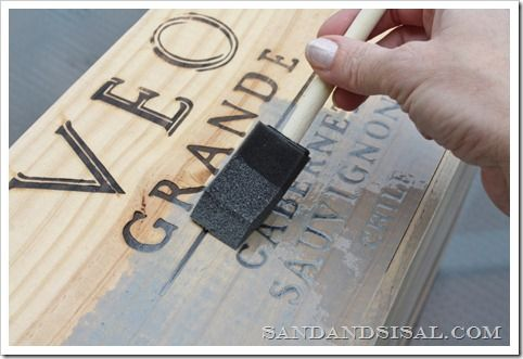 Applying Stain to Wood Wine Crate With Foam Brush