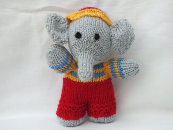 Hand Knitted Animals Handmade Elephant by CathsMenagerie