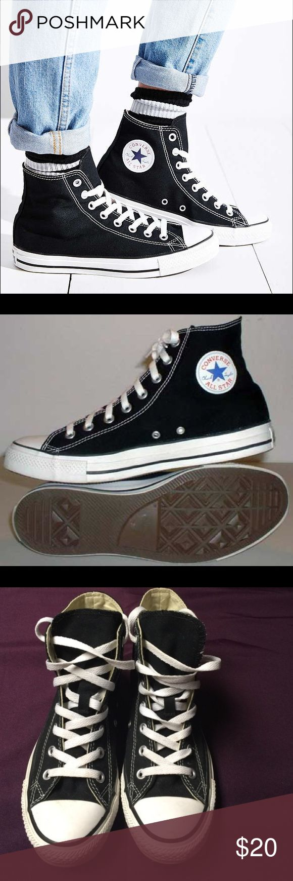 Black converse high tops  Gently used converse tennis shoes. True to size. These shoes are so much fun! You can dress them up or you can dress them down. They are perfect for going on adventures or taking trips to the mall! Who doesn't love converse?  Converse Shoes Sneakers
