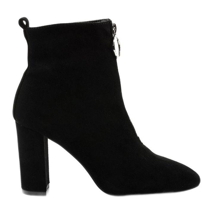 Czarne Botki Na Slupku Z Eko Zamszu Ginrolyss Ankle Boot Shoes Boots