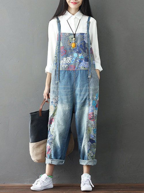 ab116f112cd Casual Print Overall With Pocket Denim Plus Size Jeans Jumpsuit Romper For  Women  YoriStyle  Jumpsuit  Casual
