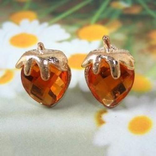 Strawberry Earrings Walnut - One Size