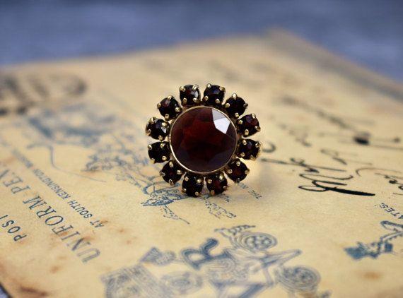 Vintage Cocktail Garnet Ring Neo Victorian by PrettyDifferentShop