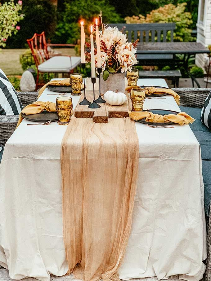 Easy Fall Outdoor Table With Drop Cloth Fall Tablecloth Fall Outdoor Fall Table Settings