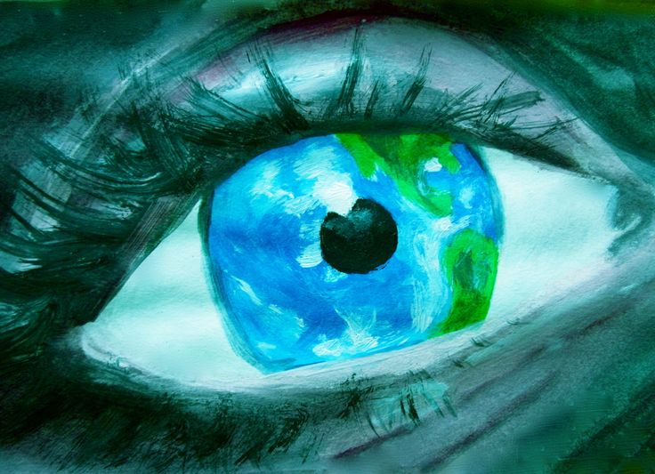 The world in your eyes. Acrylic on paper
