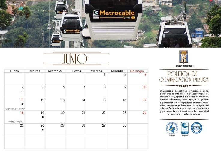 Calendario 2012 Concejo de Medellin