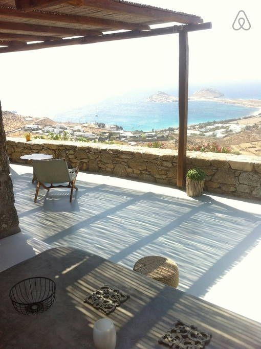 Villas for rent in Mykonos: villa Cyclamen. View from the exterior dining area