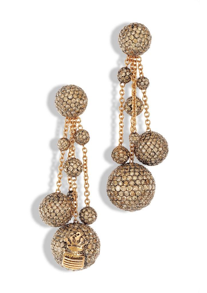 de Grisogono earrings in rose gold and brown diamonds / серьги de Grisogono в розовом золоте с коньячными бриллиантами