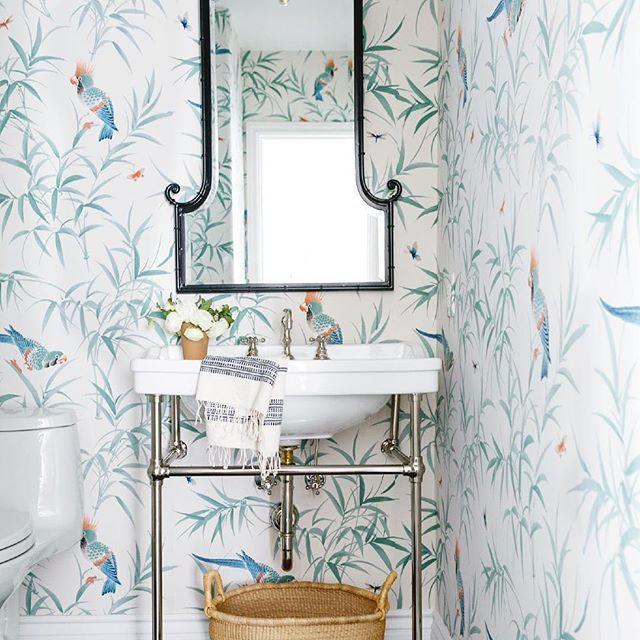 Bird Wallpaper In Small Bathroom Powder Room (📸 By ) Via