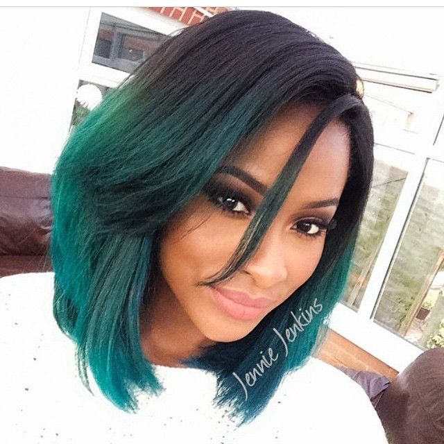 Gorgeous black girl with medium length hair cut into a bobbed styled and dyed in a black to green ombre! More Hair Styles Like This!