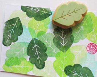 Leaf rubber stamp | botanical plant stamp | woodland hand carved stamp for spring, autumn crafts, card making, art journal, block printing