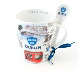 Irish Mug and Spoon Set, Scenes from Dublin