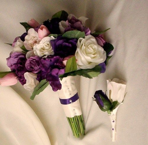 Purple Bridal Bouquet silk artificial wedding flowers roses pink tulip