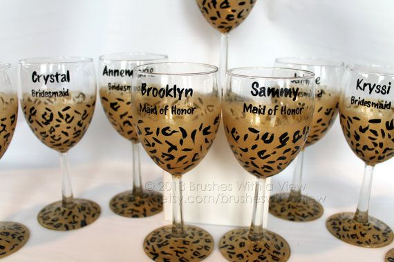 Hand Painted Wine Glass Cheetah Personalized Bridesmaids on Etsy, $15.00