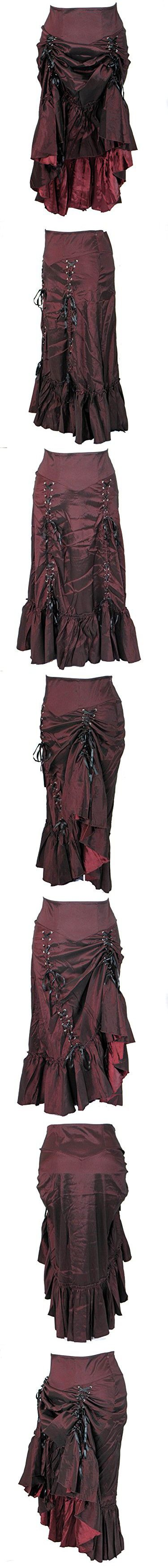 Plus Size Burgundy Gothic Steampunk Burlesque 3 Way Lace Up Skirt (2X)