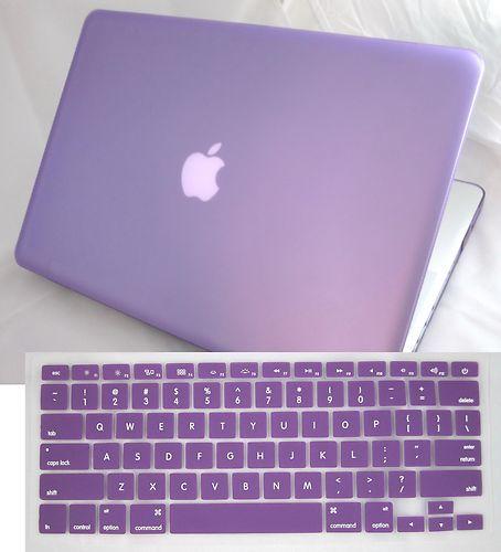 33e35207378 2 in 1 Purple Rubberized Hard Case for Apple Macbook Pro 13.3