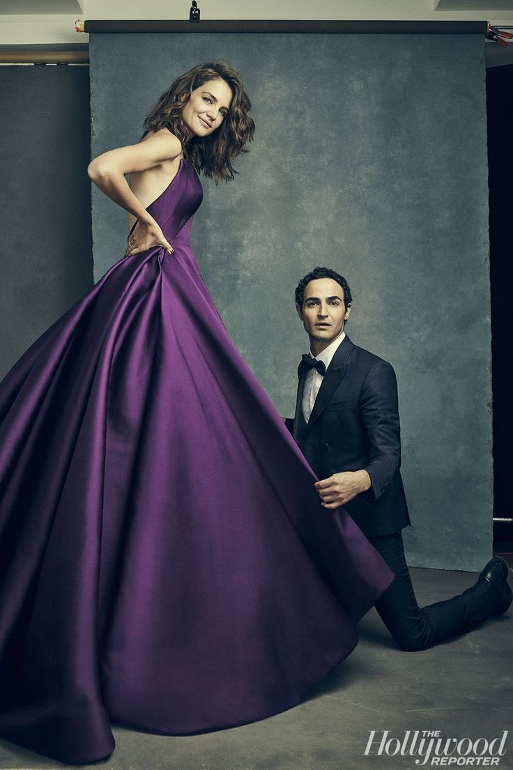 Katie Homes and Zac Posen reveal their mutual love of ravioli when they pose for The Hollywood Reporter in New York