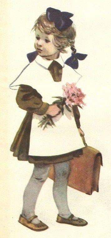 Russian school uniform. Illustration by E. and M. Afanasyeva, 1958. #education