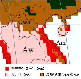ラオス気候区分地図