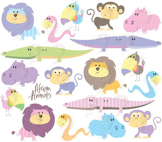 cute animal clipart african safari animals clip art baby shower pastel wild crocodile monkey hippo snake lion toucan