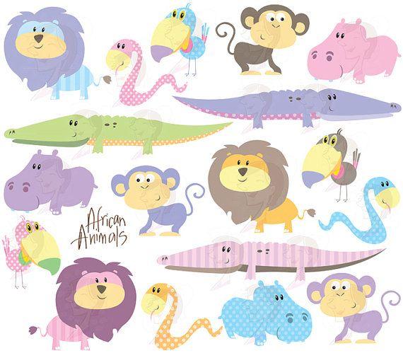 cute animal clipart african safari animals clip art baby shower pastel wild crocodile monkey hippo snake lion toucan