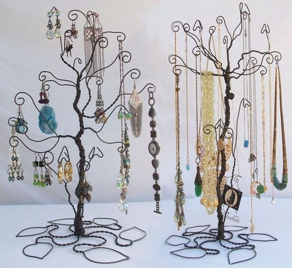 Can re-create with wires    Wire Tree Stand Jewelry Display Holder set by ClaudinesLimited, $72.00