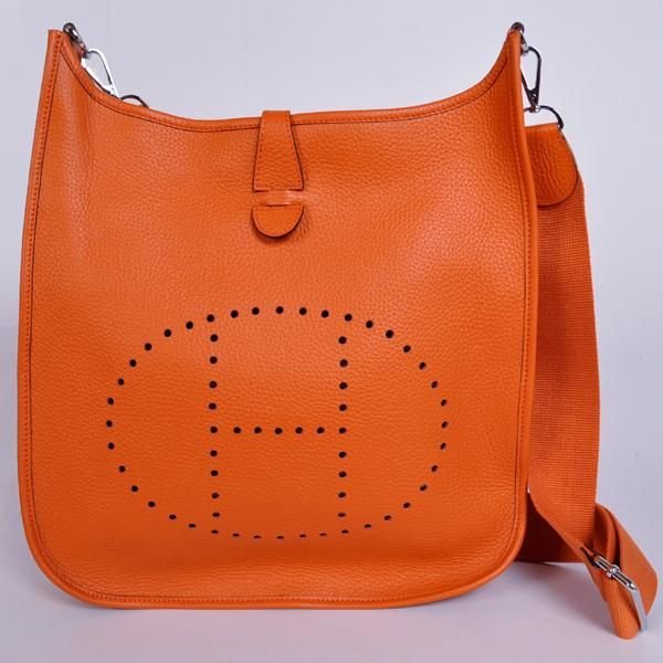 1043 Hermes 32cm Evelyn Bag Clemence Leather In Orange