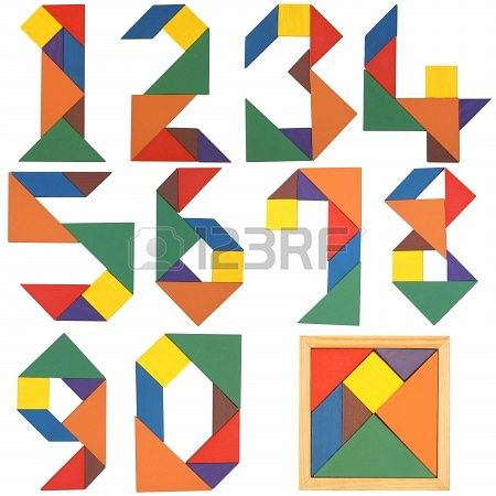 Numbers set, tangram. Isolated on a white background. Stock Photo - 18699920