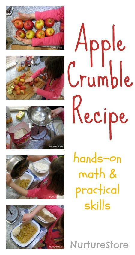 Delicious for fall: apple crumble recipe. A great way for kids to learn hands-on math and practical skills