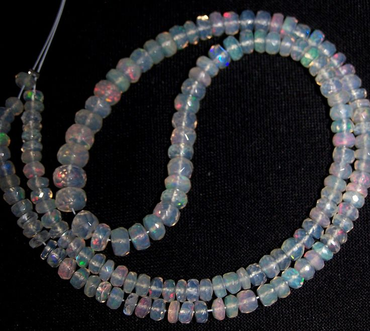 """49 ct Metallic Fire Transparent Ethiopian Welo Opal Faceted beads 3-6 MM 16 """" NR"""