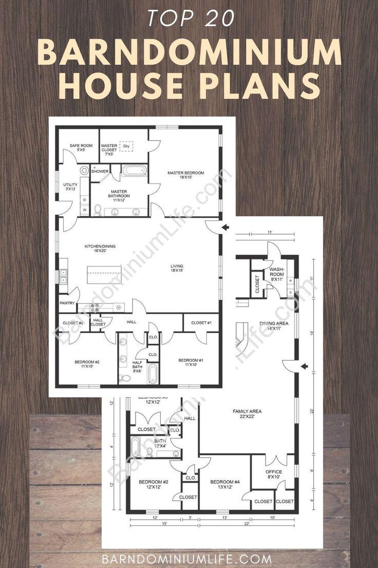 Top 20 Barndominium Floor Plans Barn homes floor plans