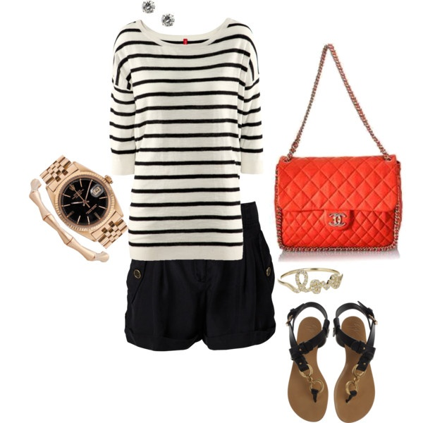 B&W Stripes with a pop of Orange. so cute.