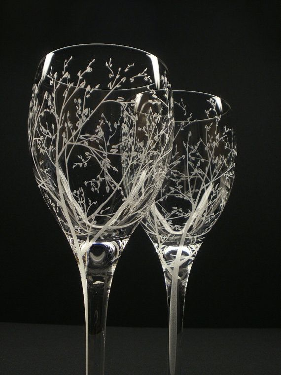Two White Wine Glasses . 'Branches  Leaves' . Hand Engraved Wedding Gift . Bridal Party Crystal Glass Stemware. $58.25, via Etsy.