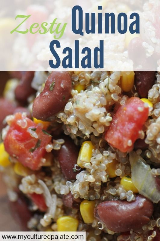 Quinoa is a powerhouse of nutrition. A protein packed superfood that tastes great! Try it as a substitute for rice or this Zesty Quinoa Salad will have your family asking for seconds! Find the recipe at http://myculturedpalate.com/2014/08/08/zesty-quinoa-salad/