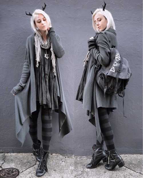 """crowrunner:  """"  Wandering Faun Comfy and cosy for an early spring day   Antlers - HysteriaMachine  Backpack - Sovrin  Socks - Sockdreams  Everything else is second hand (dress is Allsaints, cardigan is Rick Owens)  Instagram (please don't remove..."""