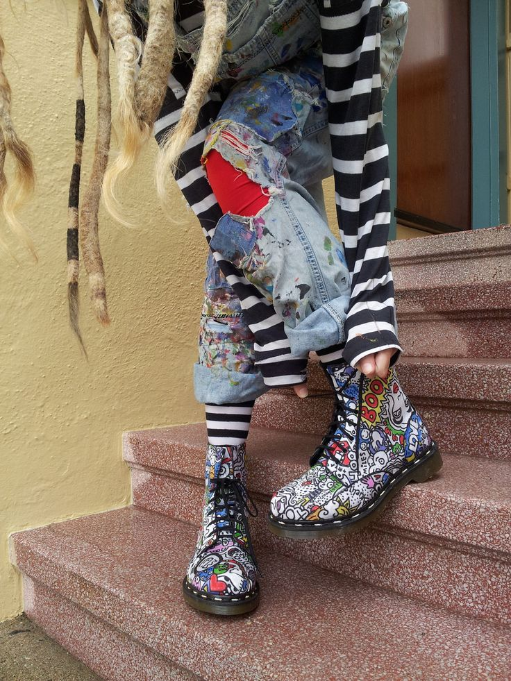 The artist, Jill-Spill wearing her customized Vegan Doc Martens, a truly bouncy SOUL! in San Francisco CA