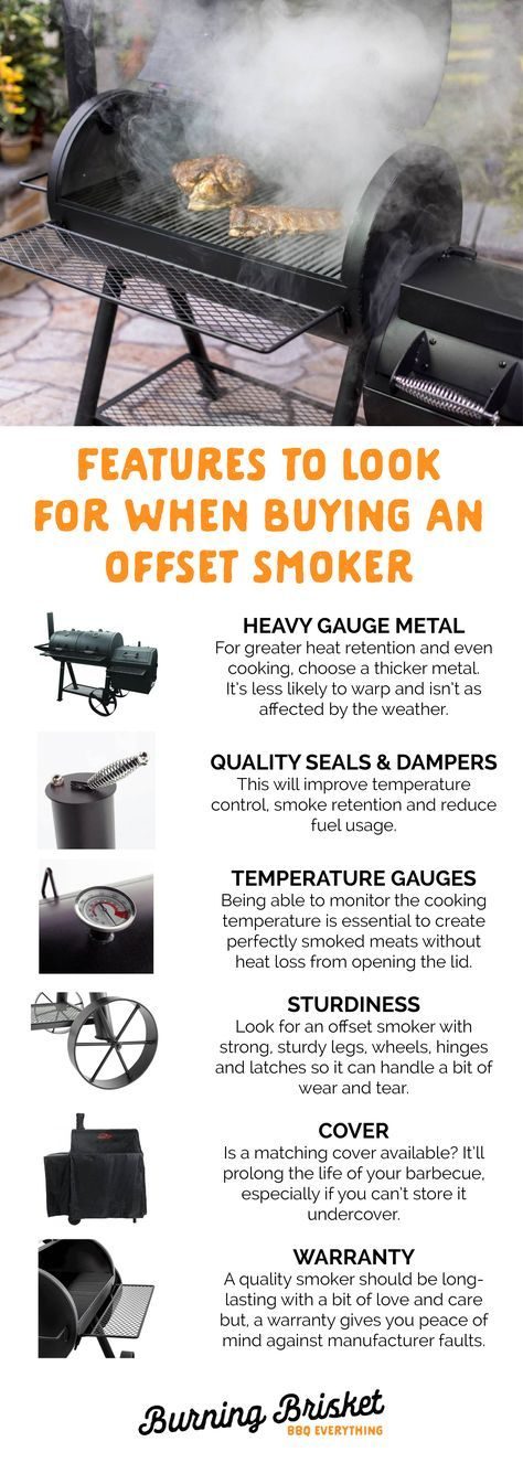 Before you start shopping for a new offset smoker, check out these must-consider features and click on the image for the full guide | Burning Brisket | Barbecue Everything | important offset barbecue features, barrel smoker features, buying an offset barbecue, buying a smoker, smoker features, barbecue features
