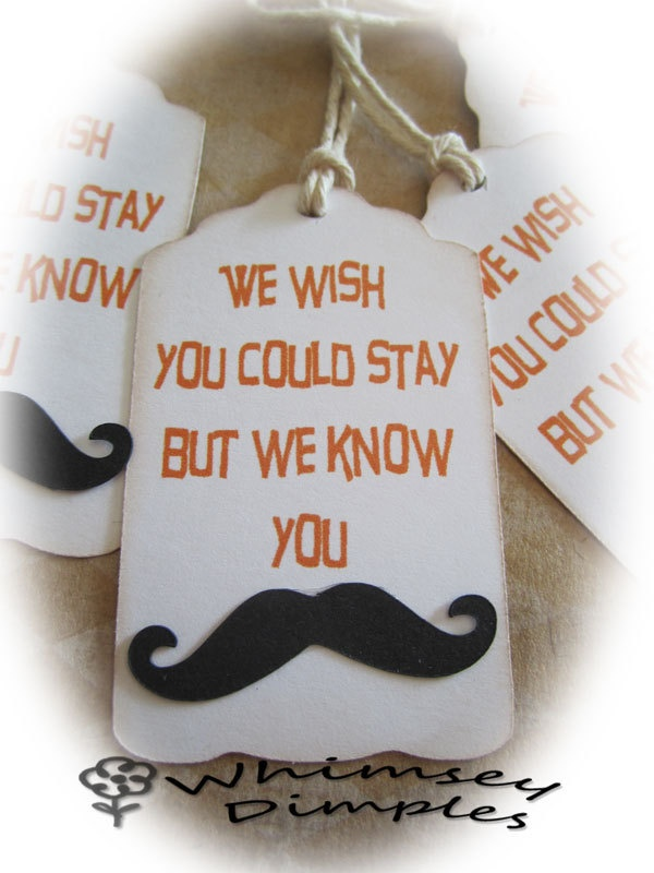 Mustache Party Favor Tag Gift Punny Parting Gift Hang Tag TeamScrapbookNinjas. $3.25, via Etsy.