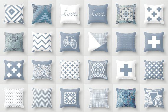 Slate Blue White Throw Pillow Mix And Match Indoor Outdoor Etsy White Throw Pillows Pillow Mixing Outdoor Cushion Covers Slate blue throw pillows