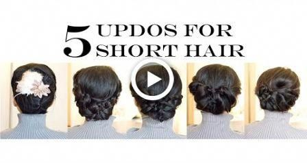 How-To for Short/Medium Hair | 5 Easy Updo Hairstyles (No-Heat) #hair #hairstyle…