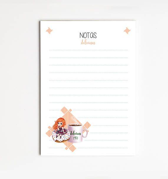 """Bloc de Notas  A6 """"DONUTS"""", Lista de Tareas, Lista de la Compra, Organizador, Papelería bonita, Naibloc"""
