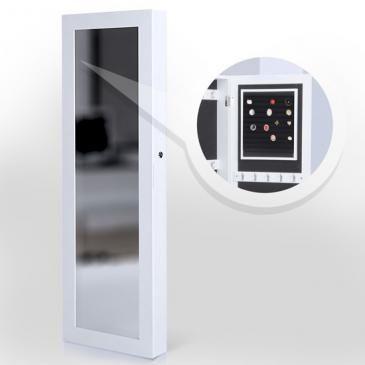 Schmuckschrank mit Spiegel hängend in weiß und schwarz | Jewellery Cabinet with mirror in white and black | @jago24