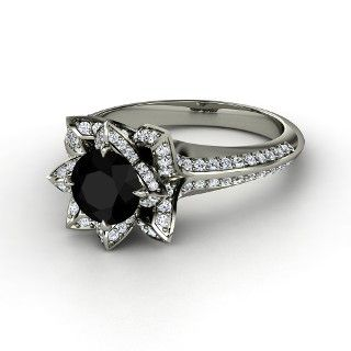Brilliant Lotus Ring,   Round Black Onyx   Platinum Ring  with Diamond