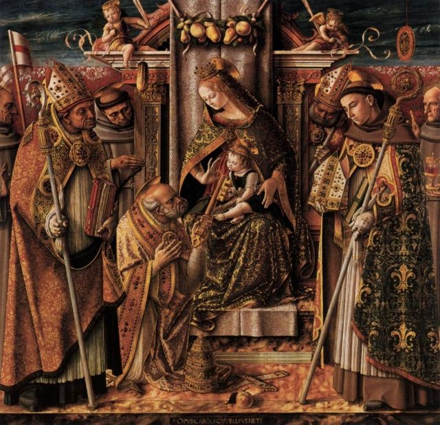 CRIVELLI, Carlo Italian Early Renaissance (ca1430-1495)_Virgin and Child Enthroned with Saints 1488