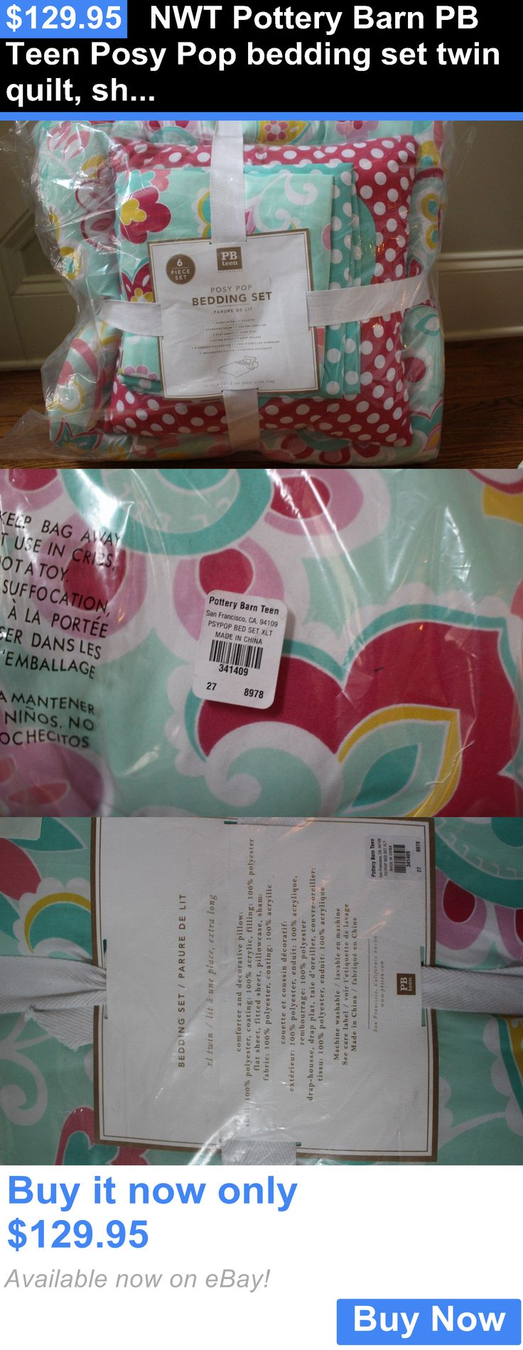 Kids Bedding: Nwt Pottery Barn Pb Teen Posy Pop Bedding Set Twin Quilt, Sham Sheet And Pillow BUY IT NOW ONLY: $129.95