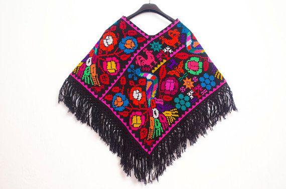 Magnifique Poncho mexicain à la main Boho Chic Womens par LoBonito