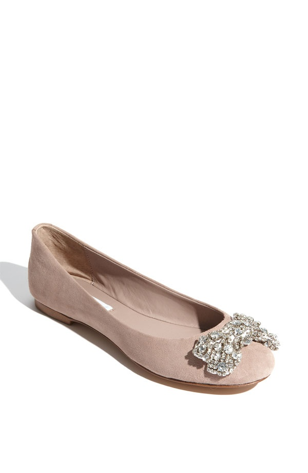 Nude suede and sparkle ballet flats