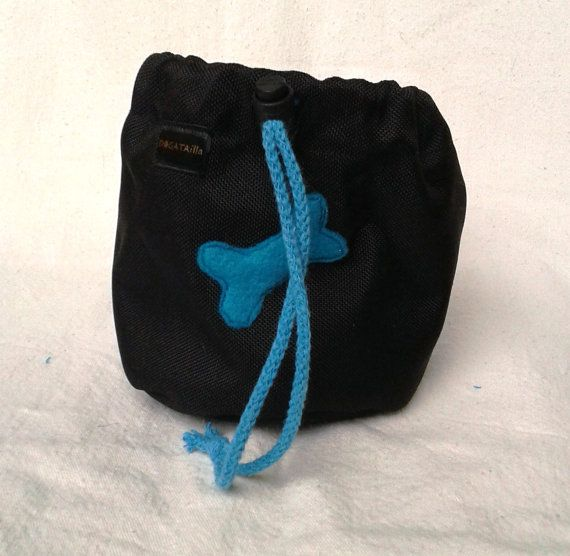 Black dog treat bag with a bone motif by DoGATAilla on Etsy