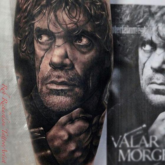 Tattoo – Tyrion Lannister ( Game Of Thrones ). #gameofthrones #direwolf #handoftheking #WhiteWalker #targaryen #tattoo #housestark #tatuagem #valardohaeris #valarmorghulis #pipocacombacon